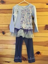 *NAARTJIE* Girls 2 Piece Purple Mesh Tiered Mixed Print Outfit Top Leggings 3-4