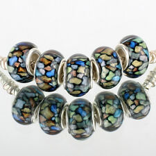 HOT sell 5pc SILVER MURANO bead LAMPWORK For European Charm leather Bracelet DIY