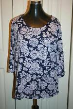 Women's CROFT AND BARROW Blue and Purple Floral Top-Size 1X-New With Tags