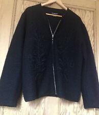 Mesdames PARAPHRASE noir 100% laine fermeture éclair cardigan/veste avec floral détail sz l