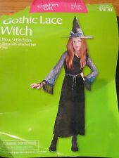 GIRLS sz 4-6X halloween costume/ play clothes GOTHIC LACE WITCH DRESS/belt ONLY
