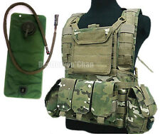 Airsoft Tactical Adjustable MOLLE VEST w/ Hydration Water Reservoir CQB Multicam