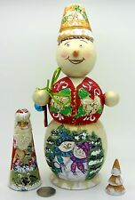 Russian NESTING doll BIG SNOWMAN SANTA Christmas Tree Matrioshka 3 MAMAYEVA GIFT