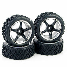 Rubber Small Block 5-Spoke Tires + Wheels (4pcs) For 1/10 RC Rally Car 04487