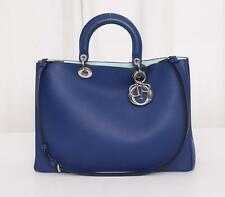 CHRISTIAN DIOR Large DIORISSIMO Blue Two-Tone Leather Shopper Tote Handbag NEW
