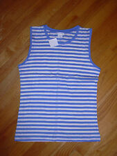 CLUB MONACO DAPHNE COTTON SHELL STRIPE TRICOT SIZE MEDIUM BLUE NWT