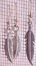 Silver Charm Earrings Curved Feathers