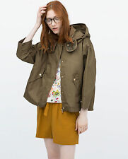 NEW Ladies ZARA Woman Khaki Green Short Parka Removable Jacket Size SMALL UK 8