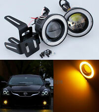 "2Pcs Amber 2.5"" Projector LED Fog Light w/ COB Halo Angel Eyes Rings For Dodge"