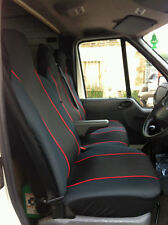 FORD TRANSIT CUSTOM 2016 DELUXE RED PIPING VAN SEAT COVERS 2+1