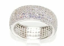 Sterling Silver 925 CZ Women's Wide Eternity Wedding Engagement Ring 8mm