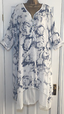 NEW ITALIAN LAGENLOOK FLORAL LAYER COTTON TUNIC DRESS WHITE FIT 16 18 20 22 C348