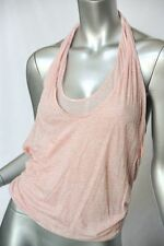 HUSSEIN CHALAYAN Pink Heathered Light Layered HALTER Draped Shirt Top Blouse 40