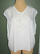 LANE BRYANT 18/20 White High Low Embellished Chiffon Blouse Top (18W 20W 1X 2X)