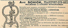 FRANKFURT-AM-MAIN AUGUSTE SCHICK MACHINES A COUDRE SEWING MACHINE PUBLICITE 1891