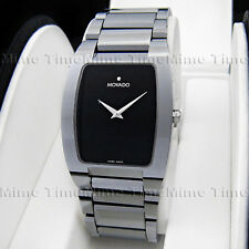 Men's Movado FIERO Tungsten Carbide Rectangular Black Dial Swiss Watch 0605621