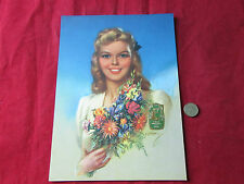 Vintage 1940's Pin up  Woman Flowers  Print & Original Extrait Fleurs J&E D432