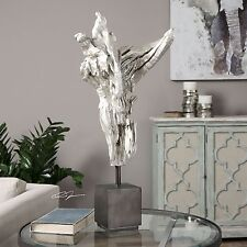 Abstract Angel Silver Driftwood Statue | Modern Contemporary Sculpture