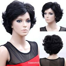 Fashion Womens Short Curly Wavy Natural Black Hair Full Wig Beauty Mom Wig Gift