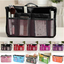 Dual Bag in Bag Cosmetic Makeup Travel Mesh Pouch Handbag Organizer-Brown
