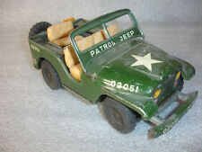 Friction Tin Patrol Military Army Jeep Willys Toy W/Rotating Seat & Gun Japan