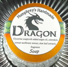 Men's DRAGON Smoke Bonfire Scent Shave Soap, Puck Glycerin Bar USA Made Smokey