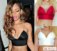Womens Sexy Rihanna Inspired V Neck Plunge Thin Strap Triangle Bralet Crop Top