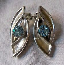 VINTAGE SILVER & BLUE TOPAZ STONE CLIP ON EARRINGS MIXED MATERIALS