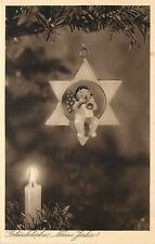 1920s? German 'Welcome New Year' Postcard; Candle & Ornament on Christmas Tree