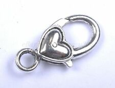 4pcs Tibetan Silver Heart Lobster Charms Clasps & Hooks 25X15MM BE421