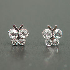 14k white Gold plated Swarovski elements butterfly stud crystals earrings