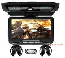 "9"" 16:9 LCD Car Roof Mount Overhead Monitor DVD Player Games FM USB SD Headsets"