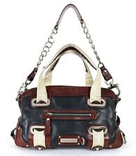 BARBARA BUI Dark Blue & Red Leather Colorblock Chain Strap Satchel Bag