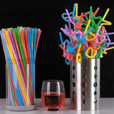 100PCS Multi Color Cocktail Drinking Wedding Long Flexible Drinking Bendy Straw