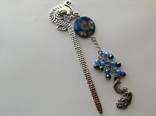 SILVER TONE ORNATE PEACOCK BOOKMARK CHAIN BLUE SHADES OF BEADS