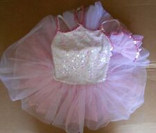 NWOT White Pink Sequin Ballet Dance Costume w/Attached Short Tutu Size Small Ch