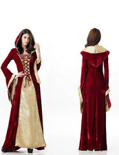 Women Little Red Riding Hood Halloween Costume Cosplay Halter Fancy Long Dress