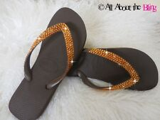 Havaianas flip flops or wedge BROWN 450-500 TOPAZ Swarovski Crystals rhinestone