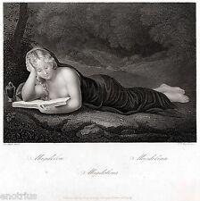 Maria Maddalena leggente, del Correggio. Acciaio.Steel Engraving.STAHLSTICH.1850