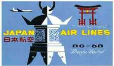 Japan Airlines    Vintage looking  1950's Baggage Label/Travel Decal