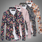 Stylish Mens Luxury Casual Floral Long Sleeve Slim Fit Button Down Dress Shirts