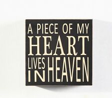 """Home decoration  """"A Piece Of My Heart Lives in Heaven"""" Wood Box Sign 5.75"""""""