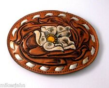 Flower Yellow White Tony Lama Leather Vintage Belt Buckle av100