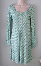 Boden Blue Print Babydoll Dress Scoop Neck Women 10 Medium EXC Portugal