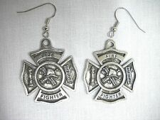 NEW FIRE FIGHTER SHIELD HOOK & LADDER HYDRANT FULL SIZE PEWTER PENDANT EARRINGS