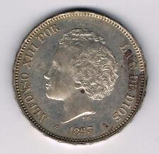 ESPAGNE - ALFONSO XIII - 5 PESETAS - argent - 1893 (93) P.G  .L. réf 16 77 10