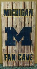 "MICHIGAN WOLVERINES FAN CAVE WOOD SIGN 6""X12'' BRAND NEW WINCRAFT"