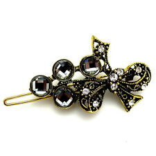 Gold Black Diamond Gray Jeweled Rhinestone Barrette Vintage Style Updo Hair Clip