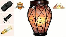 Himalayan Salt Lamp Iron Basket Vase shape ,All fitting Christmas  gift