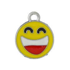 4 x Emoji ridere Viso Charms - 18mm-Argento Tono & Smalto... lo stesso giorno spedizione